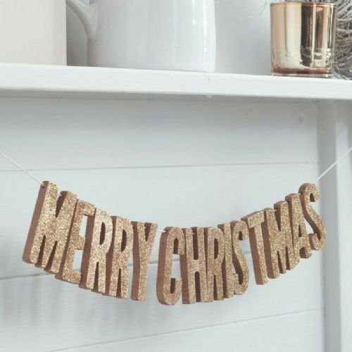 Wooden Glitter Merry Christmas Bunting